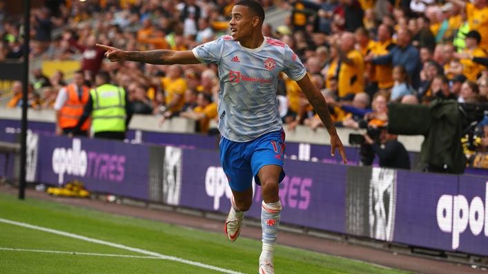 Mason Greenwood celebrates scoring against Wolves