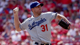 Max Scherzer #31 of the Los Angeles Dodgers pitches in the first inning against the Cincinnati Reds