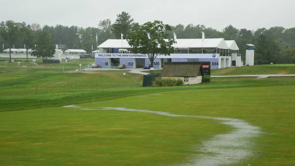 BMW Championship 2018: Rain-soaked final round gets started
