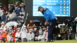 Hideki Matsuyama of Japan attempts a putt on the 9th green during the second round of the ZOZO Championship at Accordia Golf Narashino Country Club