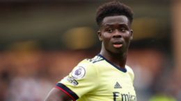 Bukayo Saka of Arsenal during the Premier League match between Burnley and Arsenal at Turf Moor
