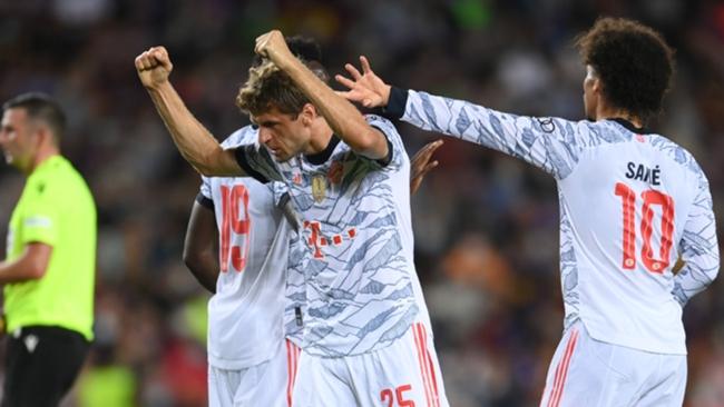 Thomas Muller celebrates his goal at Barcelona