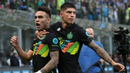 Lautaro Martinez celebrates scoring as Inter run riot against Bologna in Serie A