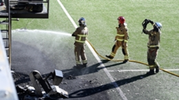 Firefighters deal with a blaze at Andorra's home stadium