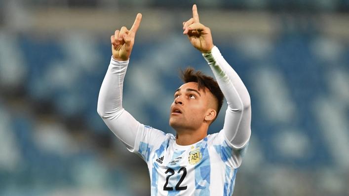 Argentina's Lautaro Martinez celebrates scoring