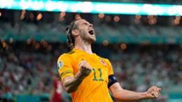 Gareth Bale celebrates in Baku