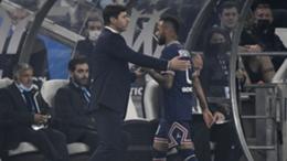 Mauricio Pochettino (left) and Neymar during PSG's 0-0 draw with Marseille
