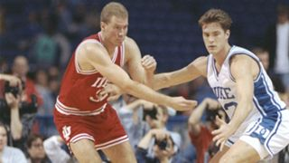 Eric Anderson (left) and Christian Laettner