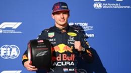 Max Verstappen celebrates his pole position in Austin