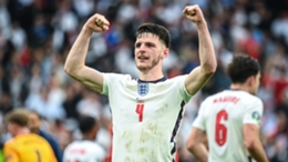 Declan Rice celebrates after helping England overcome Germany at Euro 2020.