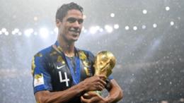 France defender Raphael Varane with the World Cup trophy