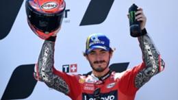 Francesco Bagnaia celebrates his win at the Aragon Grand Prix