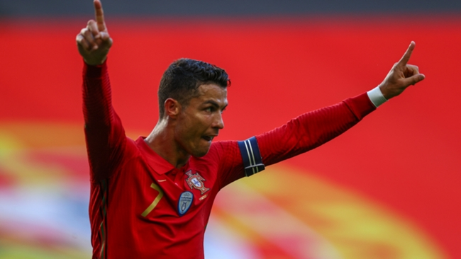 Cristiano Ronaldo celebrates after doubling Portugal's lead overagainst Israel