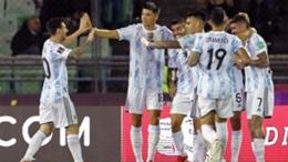 Lionel Messi (L) and Argentina celebrate against Venezuela