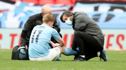 Kevin De Bruyne was injured during Manchester City's loss to Chelsea