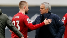 Luke Shaw (L) and former Manchester United manager (R)