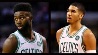Jaylen Brown (left) and Jayson Tatum (right)