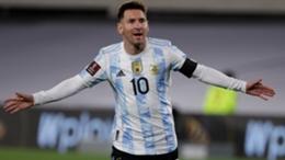 Lionel Messi celebrates against Bolivia
