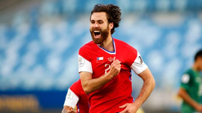 Ben Brereton celebrates his goal for Chile against Bolivia