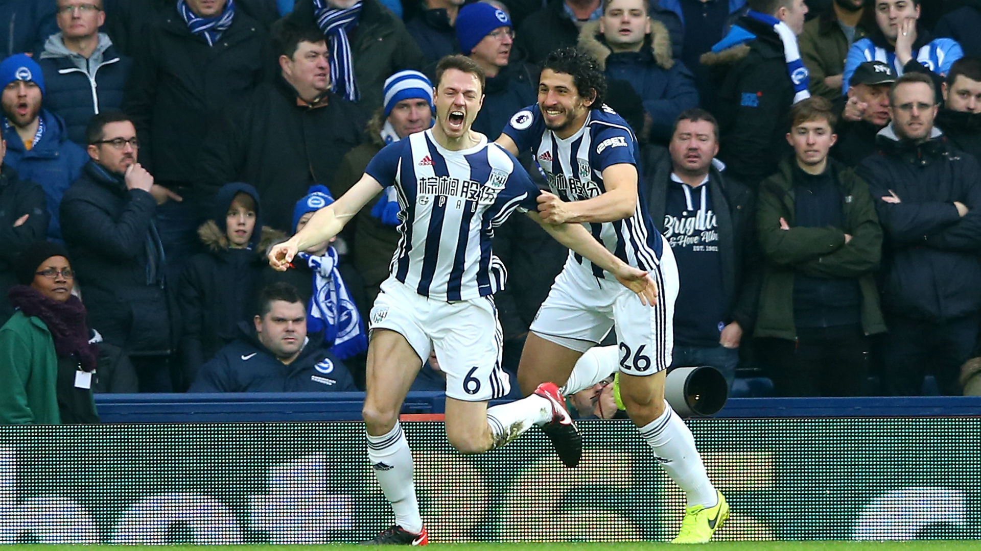 West Brom's Jonny Evans Scores Brilliant Flying Header Against Brighton — Watch