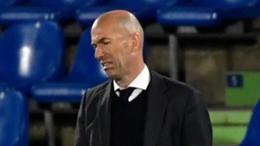 Real Madrid head coach Zinedine Zidane looks unimpressed at Getafe