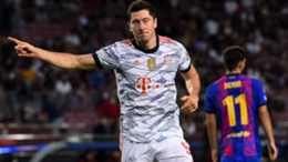 Bayern Munich's Robert Lewandowski celebrates against Barcelona