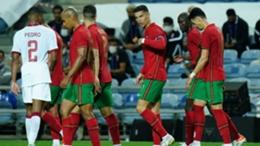 Ronaldo celebrates scoring against Qatar