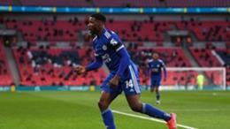 Kelechi Iheanacho celebrates at Wembley