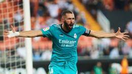 Karim Benzema celebrates his late winner against Valencia