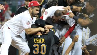Reds and Pirates brawl