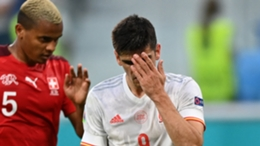 Spain striker Gerard Moreno reacts to a missed opportunity against Switzerland
