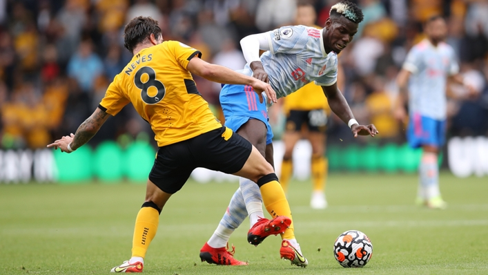 Ruben Neves (L) felt he was fouled by Paul Pogba ahead of Manchester United's winner at Wolves