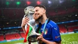 Italy midfielder Jorginho celebrates his side's Euro 2020 success