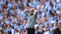 Pep Guardiola shows his frustration during Manchester City's draw with Southampton