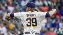 Milwaukee Brewers starting pitcher Corbin Burnes throws during the first inning of a baseball game against the Chicago Cubs