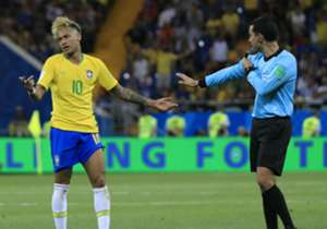 Neymar remonstrates with the referee