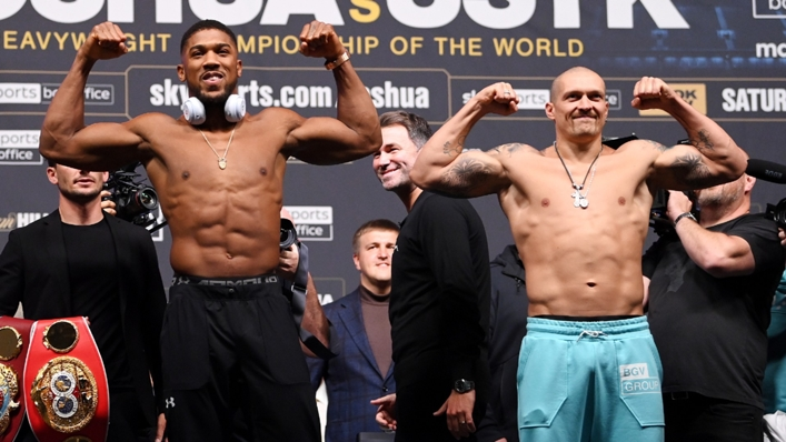 Anthony Joshua and Oleksandr Usyk face the crowd after Friday's weigh-in.