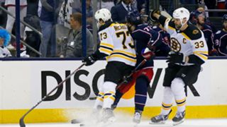 Charlie McAvoy (73) makes contact with Columbus forward Josh Anderson's (77) head.
