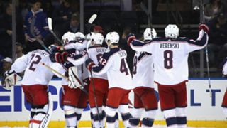 The Blue Jackets celebrate locking up a playoff spot for the third straight season after a 3-2 (OT) win over the Rangers on Friday.