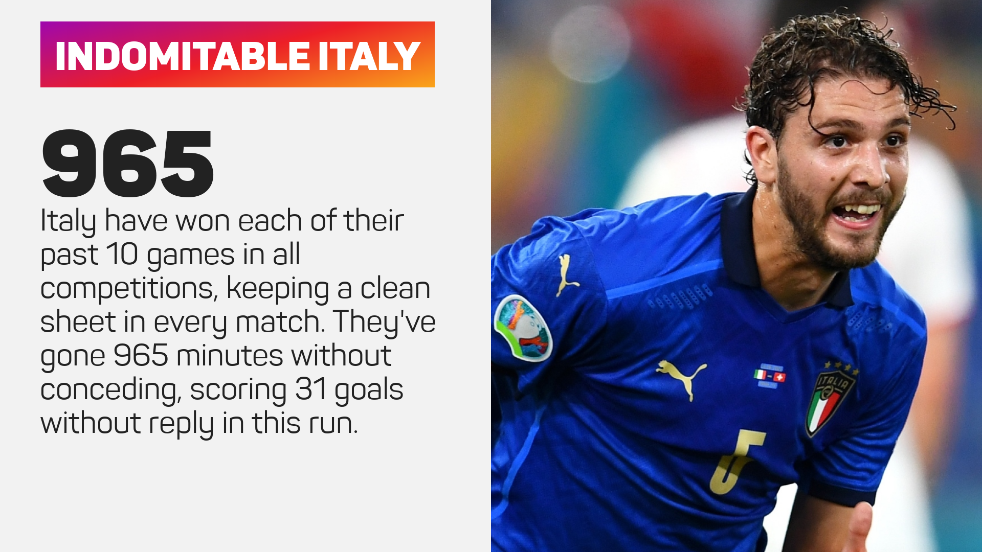 Italy run without conceding