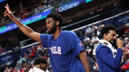 Joel Embiid celebrates after the 76ers' win over the Pelicans