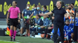 Ronald Koeman was sent off at the end of Barcelona's 0-0 draw with Cadiz