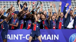 PSG captain Irene Paredes and her team-mates celebrate their triumph