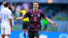 Sebastian Cordova celebrates his goal for Mexico