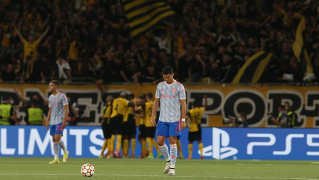 Cristiano Ronaldo reacts after Young Boys' equaliser against Manchester United