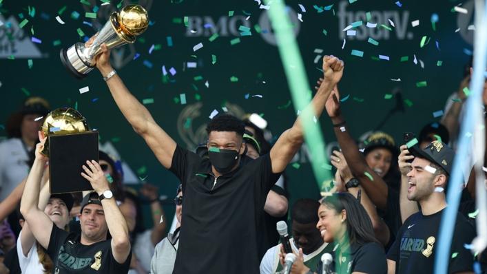 Giannis Antetokounmpo celebrates