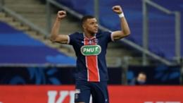 Kylian Mbappe celebrates against Monaco