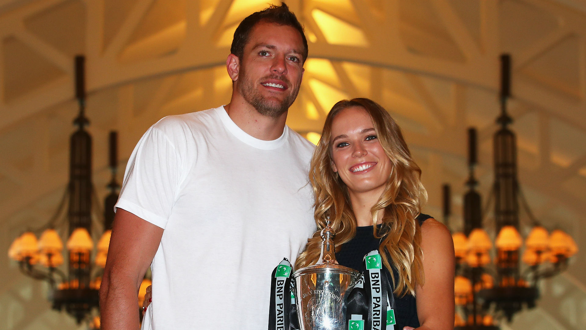​Check out the rock David Lee just put on Caroline Wozniacki's finger