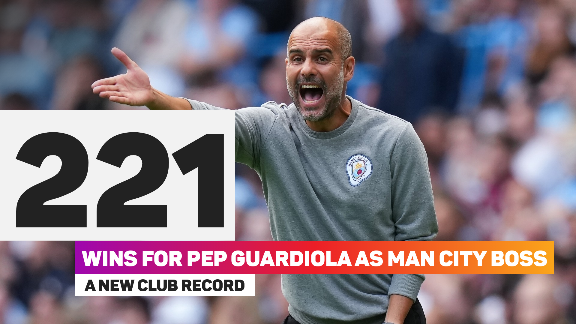 Pep Guardiola registered his 221st win as Manchester City boss