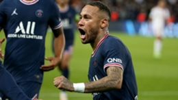 Neymar celebrates against Lyon